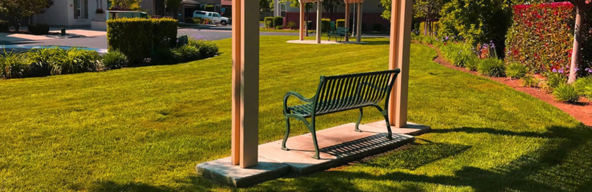 A shed with a bench found in a subdivision; With Equity Group, You Can Expect the Best
